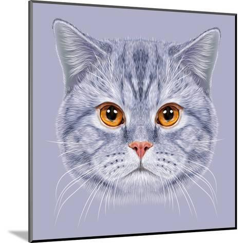 Illustration of Portrait British Short Hair Cat. Cute Grey Tabby Domestic Cat with Orange Eyes.-ant_art19-Mounted Art Print