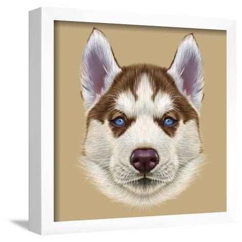 Illustrative Portrait of Husky Puppy. Cute Portrait of Young Copper Red Bi-Colour Dog with Pale Blu-ant_art19-Framed Art Print