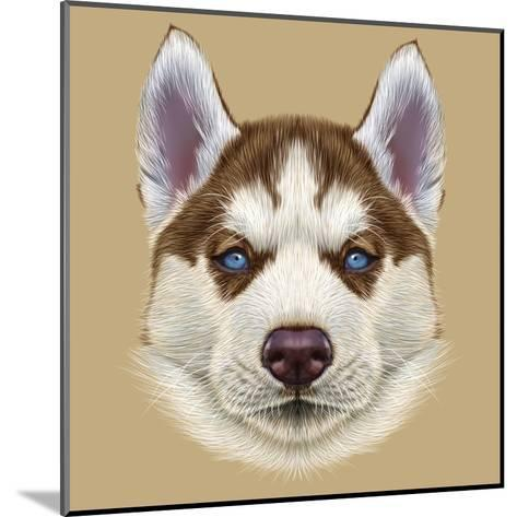 Illustrative Portrait of Husky Puppy. Cute Portrait of Young Copper Red Bi-Colour Dog with Pale Blu-ant_art19-Mounted Art Print