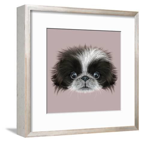 Illustrated Portrait of Pekingese Dog-ant_art19-Framed Art Print