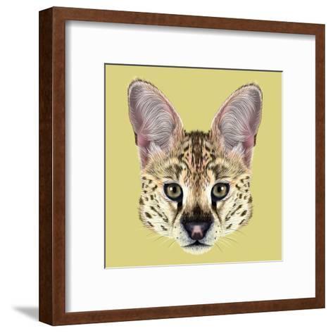 Illustrated Portrait of Serval-ant_art19-Framed Art Print