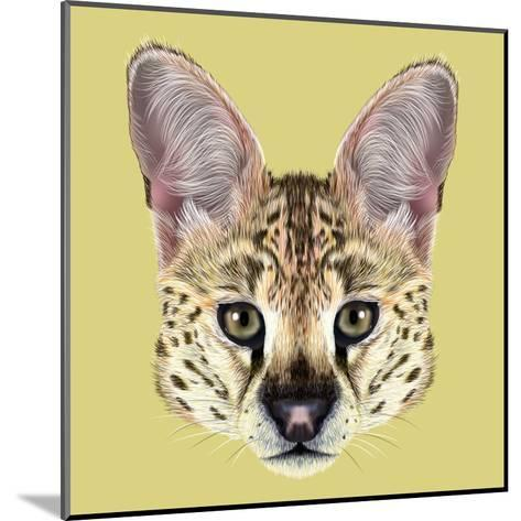 Illustrated Portrait of Serval-ant_art19-Mounted Art Print