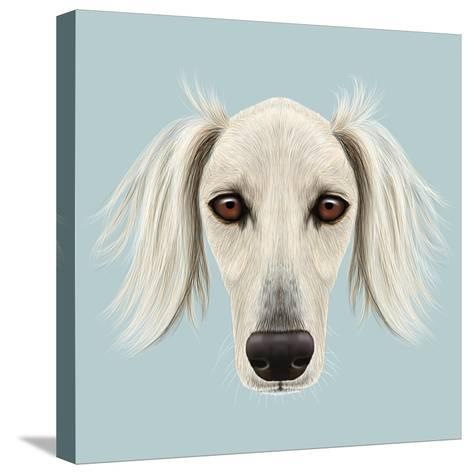 Illustrated Portrait of Saluki Dog-ant_art19-Stretched Canvas Print