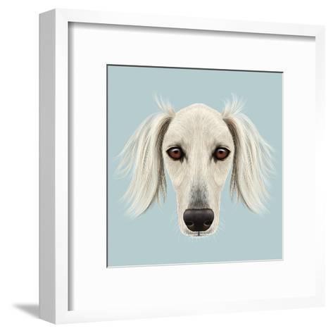 Illustrated Portrait of Saluki Dog-ant_art19-Framed Art Print