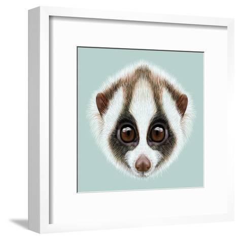 Illustrated Portrait of Slow Loris-ant_art19-Framed Art Print