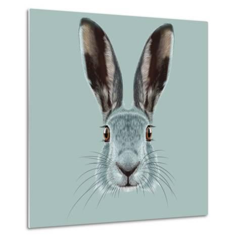 Illustrated Portrait of Hare.-ant_art19-Metal Print