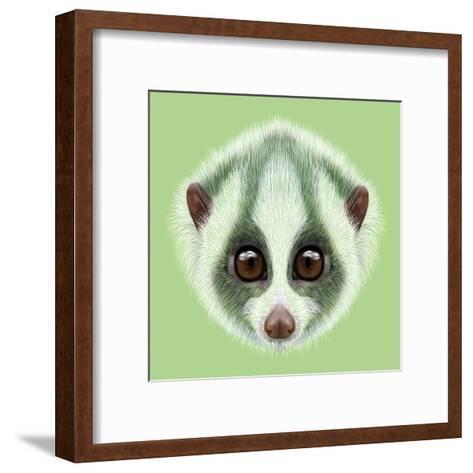 Illustrated Portrait of Slow Loris.-ant_art19-Framed Art Print