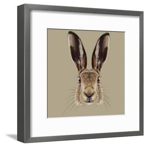 Illustrated Portrait of Hare-ant_art19-Framed Art Print