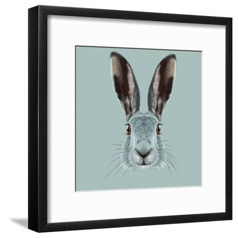 Illustrated Portrait of Hare.-ant_art19-Framed Art Print