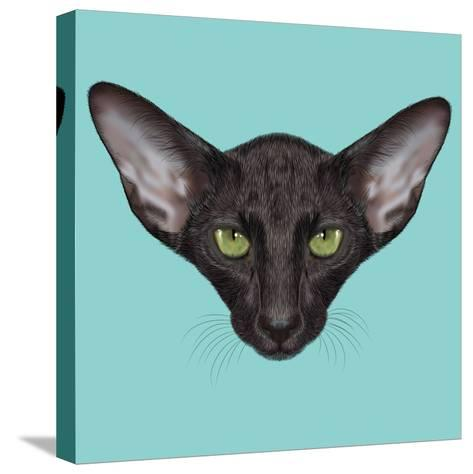 Illustrated Portrait of Black Oriental Shorthair Cat.-ant_art19-Stretched Canvas Print
