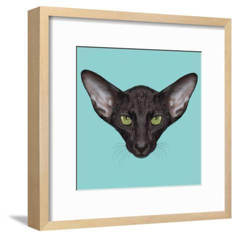 Illustrated Portrait of Black Oriental Shorthair Cat.-ant_art19-Framed Art Print