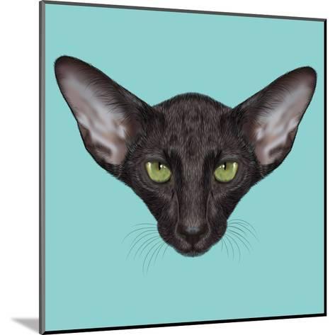 Illustrated Portrait of Black Oriental Shorthair Cat.-ant_art19-Mounted Art Print