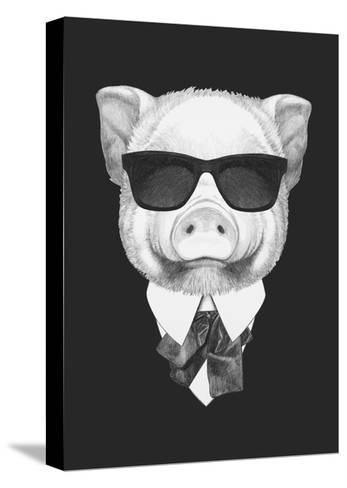 Portrait of Piggy in Suit. Hand Drawn Illustration.-victoria_novak-Stretched Canvas Print