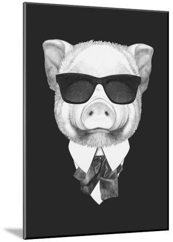 Portrait of Piggy in Suit. Hand Drawn Illustration.-victoria_novak-Mounted Art Print