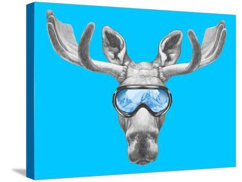 Portrait of Moose with Ski Goggles. Hand Drawn Illustration.-victoria_novak-Stretched Canvas Print