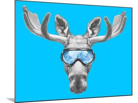 Portrait of Moose with Ski Goggles. Hand Drawn Illustration.-victoria_novak-Mounted Art Print