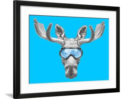 Portrait of Moose with Ski Goggles. Hand Drawn Illustration.-victoria_novak-Framed Art Print