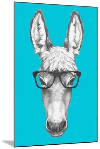 Portrait of Donkey with Glasses. Hand Drawn Illustration.-victoria_novak-Mounted Art Print