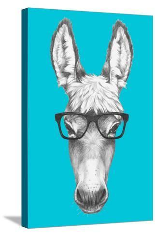 Portrait of Donkey with Glasses. Hand Drawn Illustration.-victoria_novak-Stretched Canvas Print