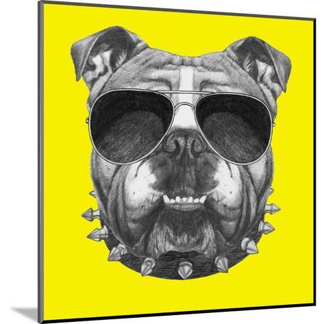 Original Drawing of English Bulldog with Collar and Sunglasses. Isolated on Colored Background-victoria_novak-Mounted Art Print