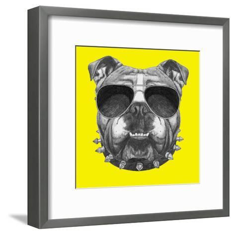 Original Drawing of English Bulldog with Collar and Sunglasses. Isolated on Colored Background-victoria_novak-Framed Art Print