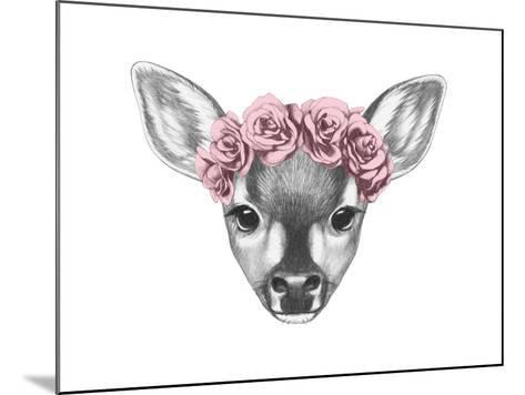 Portrait of Fawn with Floral Head Wreath. Hand Drawn Illustration.-victoria_novak-Mounted Art Print