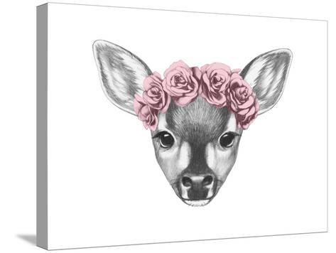 Portrait of Fawn with Floral Head Wreath. Hand Drawn Illustration.-victoria_novak-Stretched Canvas Print