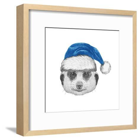Portrait of Mongoose with Santa Hat. Hand Drawn Illustration.-victoria_novak-Framed Art Print
