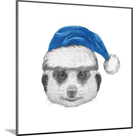 Portrait of Mongoose with Santa Hat. Hand Drawn Illustration.-victoria_novak-Mounted Art Print