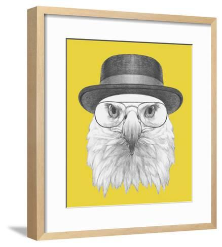 Portrait of Eagle with Hat and Glasses. Hand Drawn Illustration.-victoria_novak-Framed Art Print