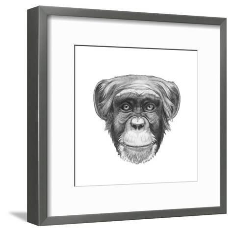 Original Drawing of Monkey. Isolated on White Background.-victoria_novak-Framed Art Print