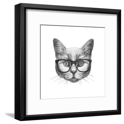 Original Drawing of Rabbit. Isolated on White Background-victoria_novak-Framed Art Print