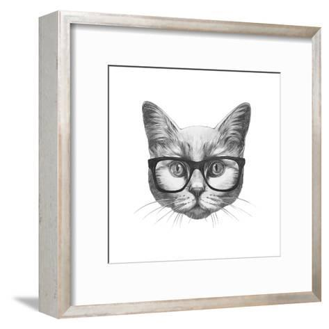 Original Drawing of Rabbit. Isolated on White Background-victoria_novak-Framed Art Print