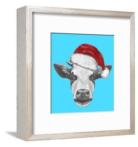 Portrait of Cow with Santa Hat and Sunglasses. Hand Drawn Illustration.-victoria_novak-Framed Art Print