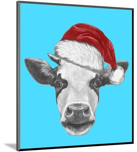 Portrait of Cow with Santa Hat and Sunglasses. Hand Drawn Illustration.-victoria_novak-Mounted Art Print