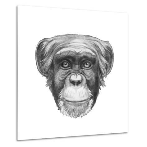 Original Drawing of Monkey. Isolated on White Background.-victoria_novak-Metal Print