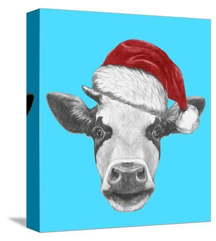 Portrait of Cow with Santa Hat and Sunglasses. Hand Drawn Illustration.-victoria_novak-Stretched Canvas Print
