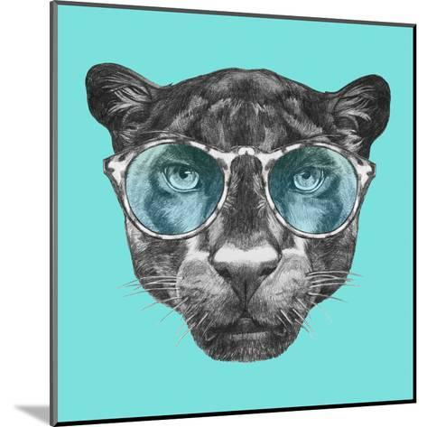 Portrait of Panther with Glasses. Hand Drawn Illustration.-victoria_novak-Mounted Art Print