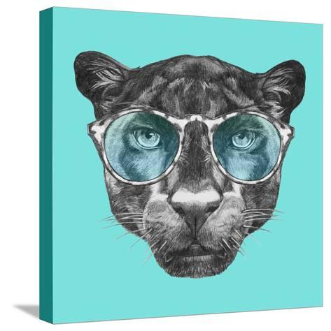 Portrait of Panther with Glasses. Hand Drawn Illustration.-victoria_novak-Stretched Canvas Print