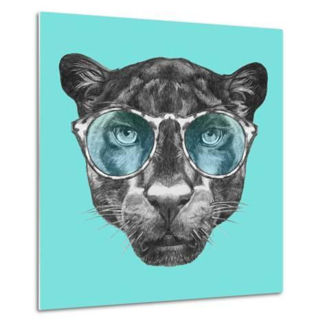 Portrait of Panther with Glasses. Hand Drawn Illustration.-victoria_novak-Metal Print