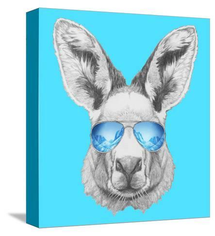 Portrait of Kangaroo with Mirror Sunglasses. Hand Drawn Illustration.-victoria_novak-Stretched Canvas Print