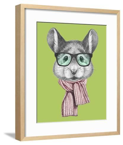Portrait of Mouse with Scarf and Glasses. Hand Drawn Illustration.-victoria_novak-Framed Art Print