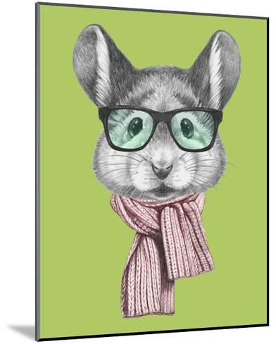 Portrait of Mouse with Scarf and Glasses. Hand Drawn Illustration.-victoria_novak-Mounted Art Print