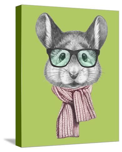 Portrait of Mouse with Scarf and Glasses. Hand Drawn Illustration.-victoria_novak-Stretched Canvas Print