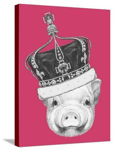 Portrait of Piggy. Hand Drawn Illustration.-victoria_novak-Stretched Canvas Print