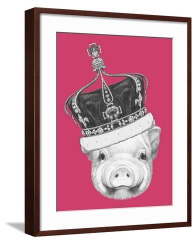 Portrait of Piggy. Hand Drawn Illustration.-victoria_novak-Framed Art Print