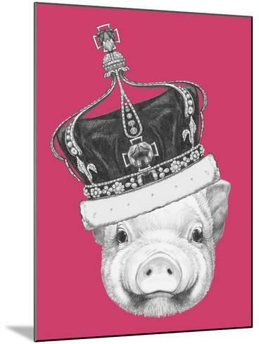 Portrait of Piggy. Hand Drawn Illustration.-victoria_novak-Mounted Art Print
