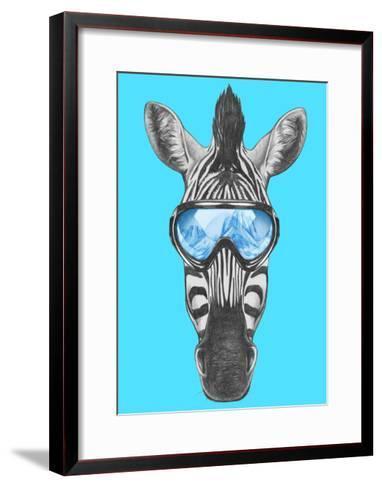Portrait of Zebra with Ski Goggles. Hand Drawn Illustration.-victoria_novak-Framed Art Print
