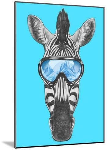 Portrait of Zebra with Ski Goggles. Hand Drawn Illustration.-victoria_novak-Mounted Art Print