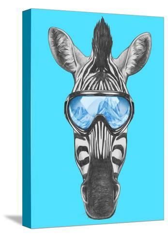 Portrait of Zebra with Ski Goggles. Hand Drawn Illustration.-victoria_novak-Stretched Canvas Print